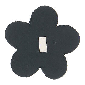 Our Lady of Lourdes flower magnet real blue leather 2 in s2