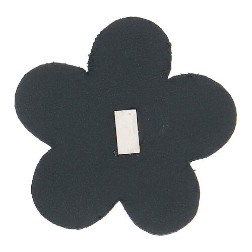 Our Lady of Lourdes flower magnet real blue leather 2 in 2