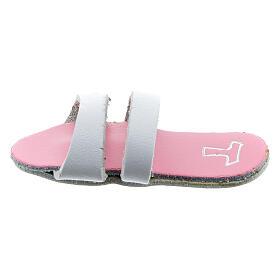 Aimant sandale franciscaine semelle rose Tau 6 cm cuir véritable s1