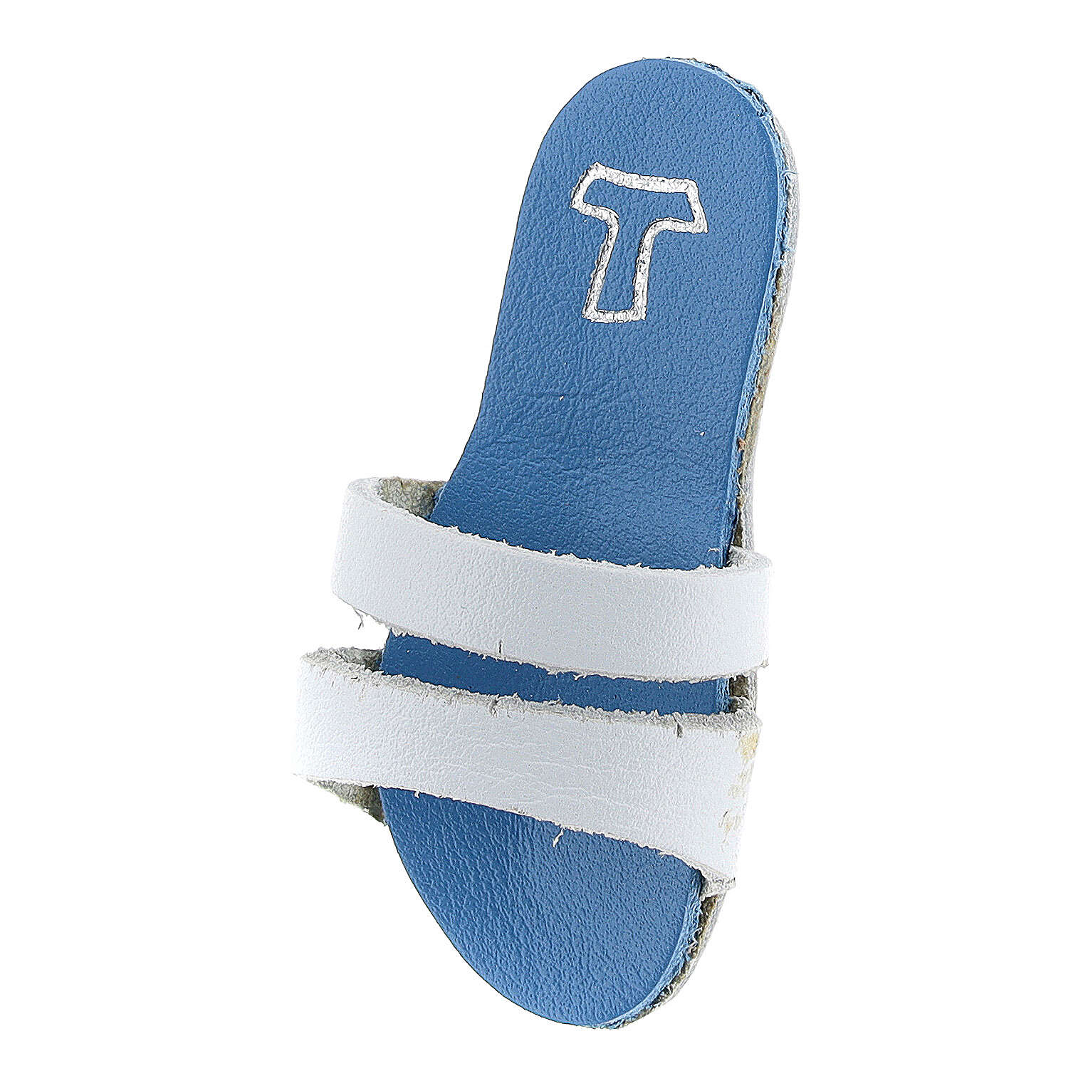 Light blue sandal-shaped real leather Tau magnet 6 cm 3