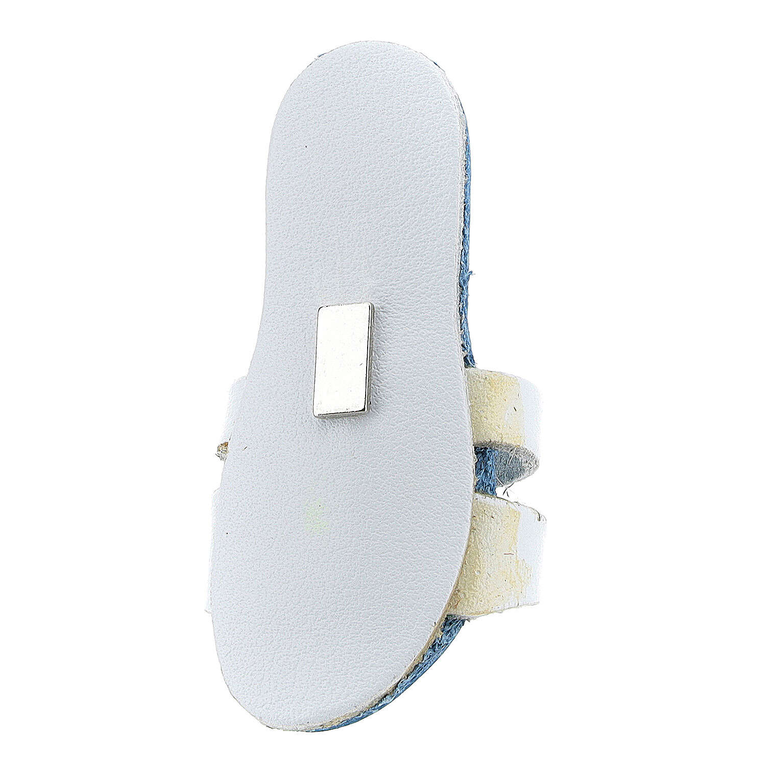 Aimant sandale franciscaine bleue claire Tau cuir véritable 6 cm 3
