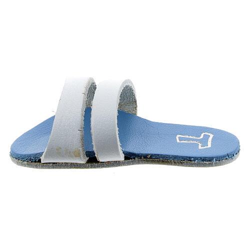 Aimant sandale franciscaine bleue claire Tau cuir véritable 6 cm 1