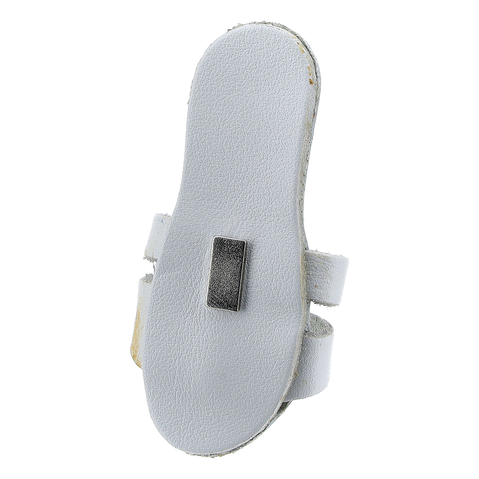 White Franciscan sandal magnet with Tau 2 1/2 in real leather 3