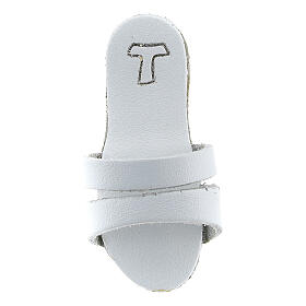 White Franciscan sandal magnet with Tau 2 1/2 in real leather s2