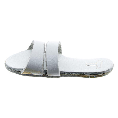 White Franciscan sandal magnet with Tau 2 1/2 in real leather 1