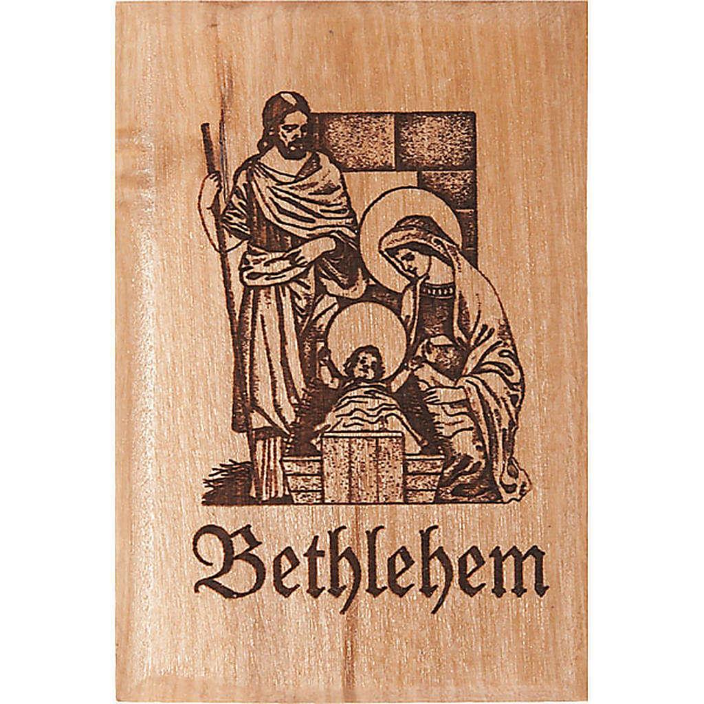 Olive wood magnet- Holy family in Bethlehem 3