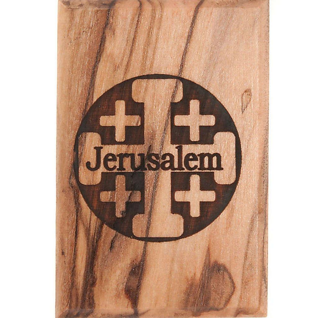 Olive wood magnet- Jerusalem 3