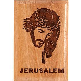 Magnets religieux: Aimant en bois d'olivier, visage de Christ, Jérusalem