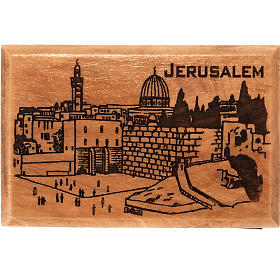 Religious Magnets: Olive wood magnet- the city of Jerusalem