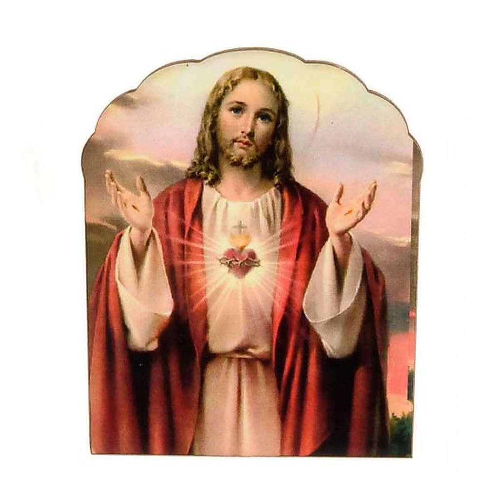 Imán de Madera del Sagrado Corazón de Jesús 3