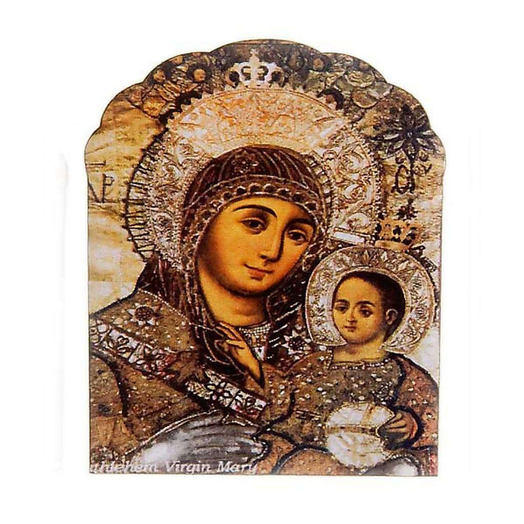 Imán de madera marrón Virgen y el Niño 3