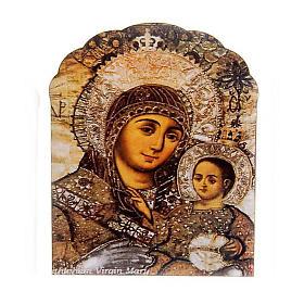Imán de madera marrón Virgen y el Niño s1