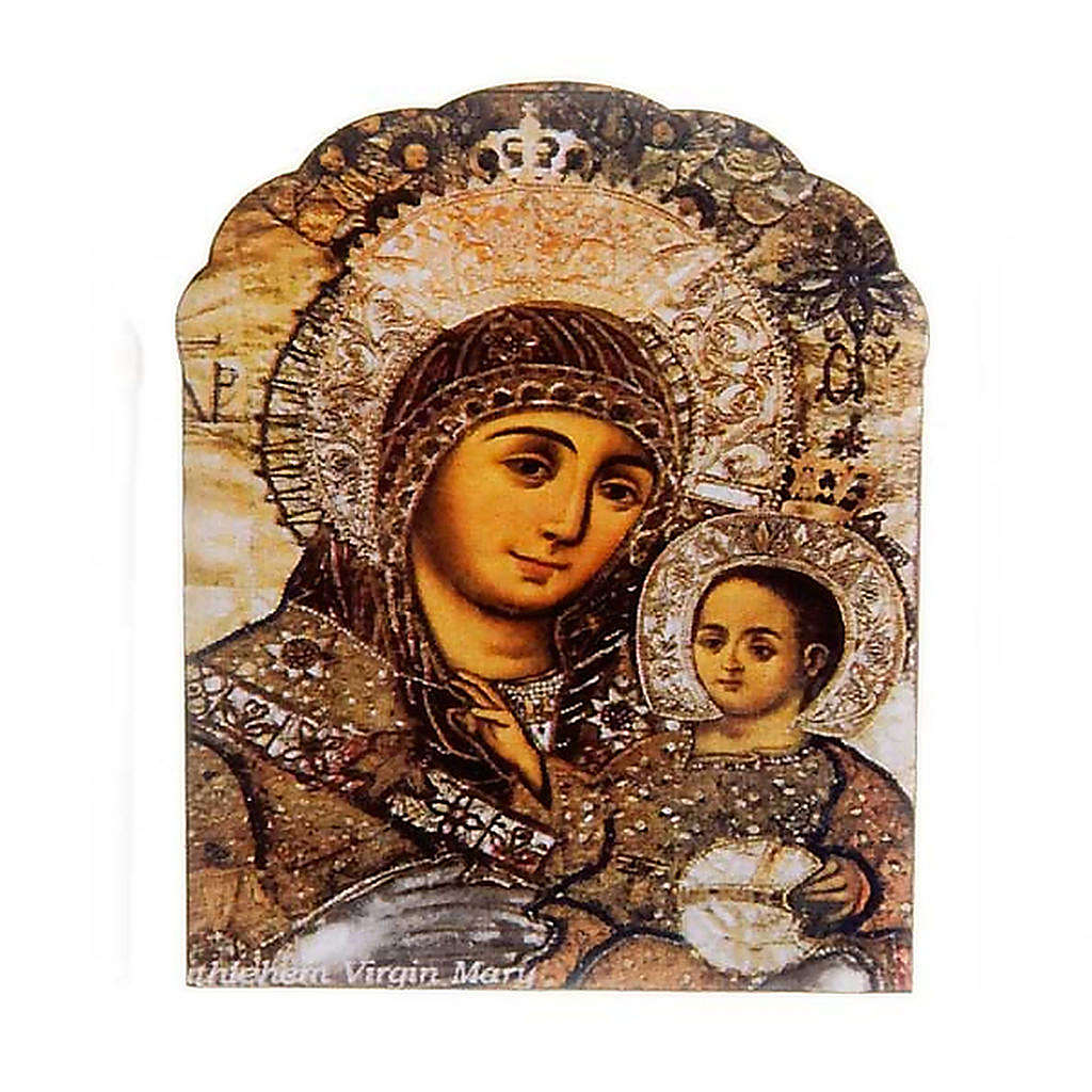 Magnet in wood, Our Lady and baby, brown colour 3