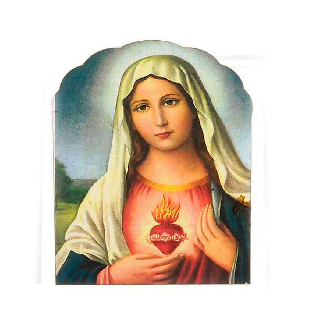 Magnete legno sacro cuore di Maria 3