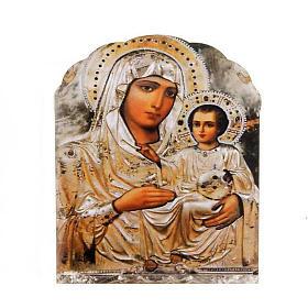 Imán de madera Virgen con el Niño color plata s1
