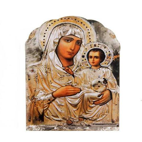 Imán de madera Virgen con el Niño color plata 1