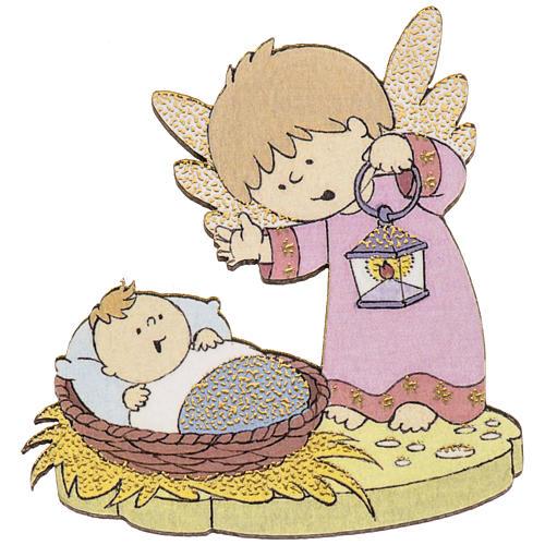 Magnete legno angelo Gesù bambino 1