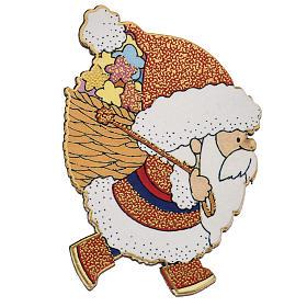 Magnets religieux: Magnet de frigo Père Noel bois