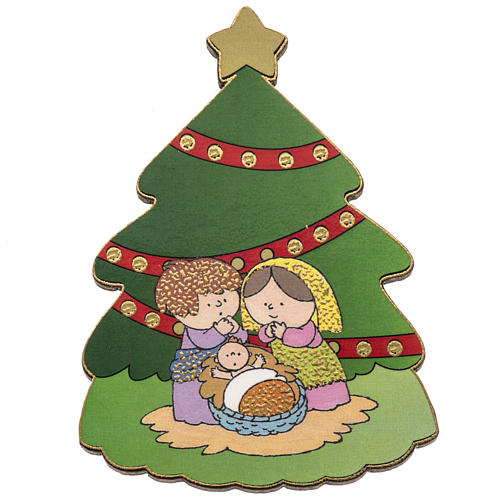 Magnet in wood, pine shaped with Nativity scene 1