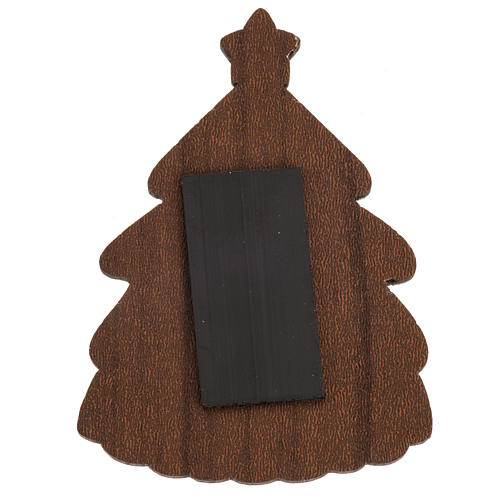 Magnet in wood, pine shaped with Nativity scene 2