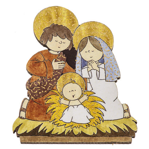 Magnet in wood with image of the Holy Family 1