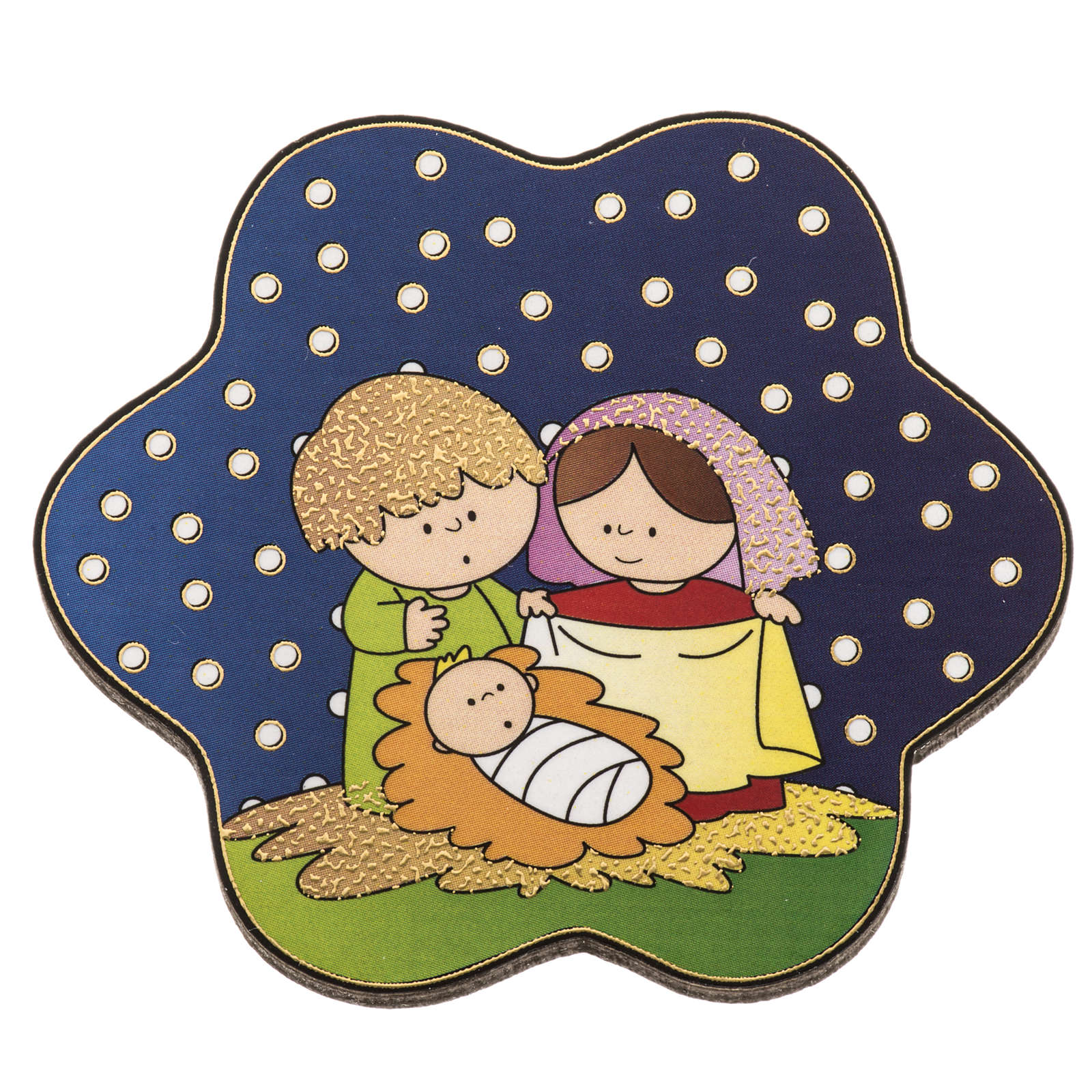 Magnet in wood with Nativity and starry sky 3