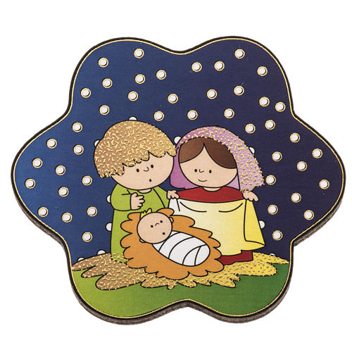 Magnet in wood with Nativity and starry sky 1