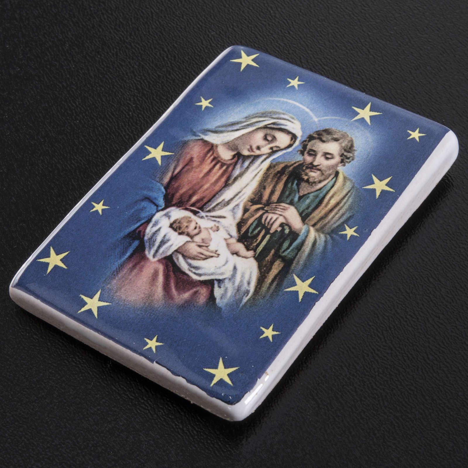 Magnete rettangolare ceramica Sacra Famiglia 3