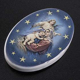 Oval magnet Jesus's birth terracotta s2