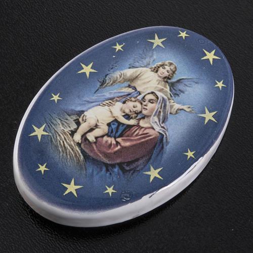 Oval magnet Jesus's birth terracotta 2