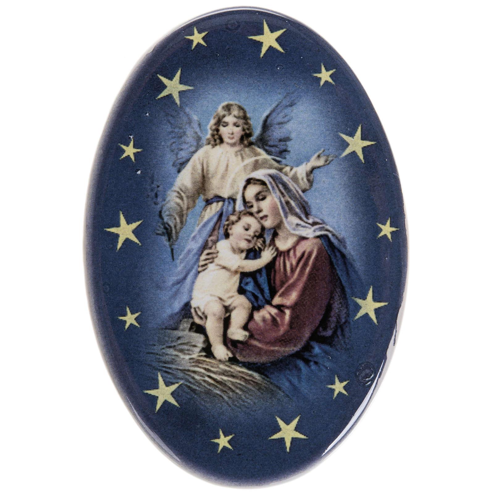 Magnete ovale ceramica Nascità Gesù 3