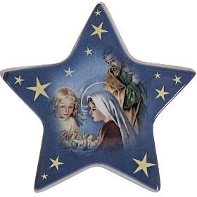 Star magnet terracotta manger scene. s1