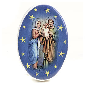 Religious Magnets: Round shaped magnet terracotta Nativity.