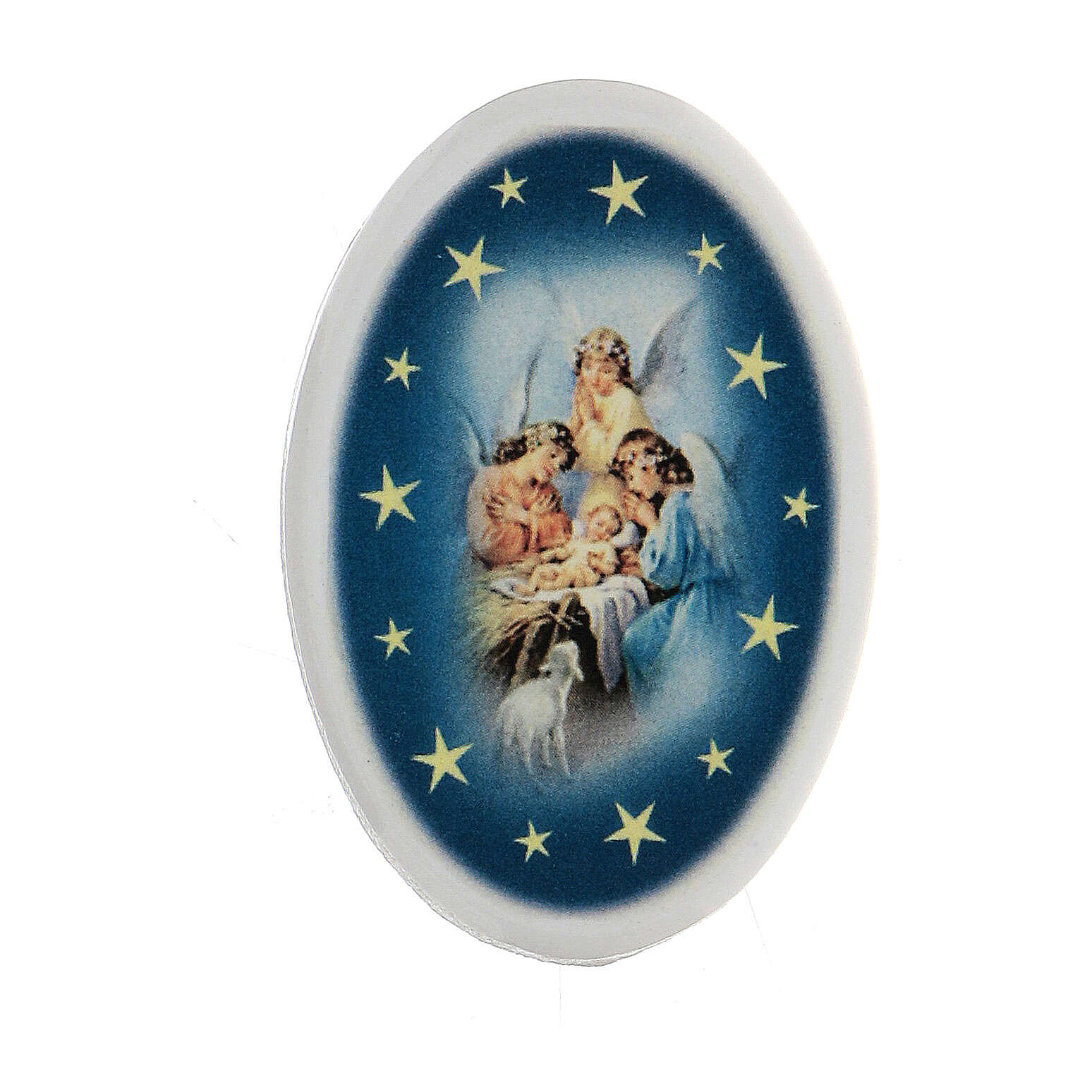 Round shaped magnet terracotta angels. 3