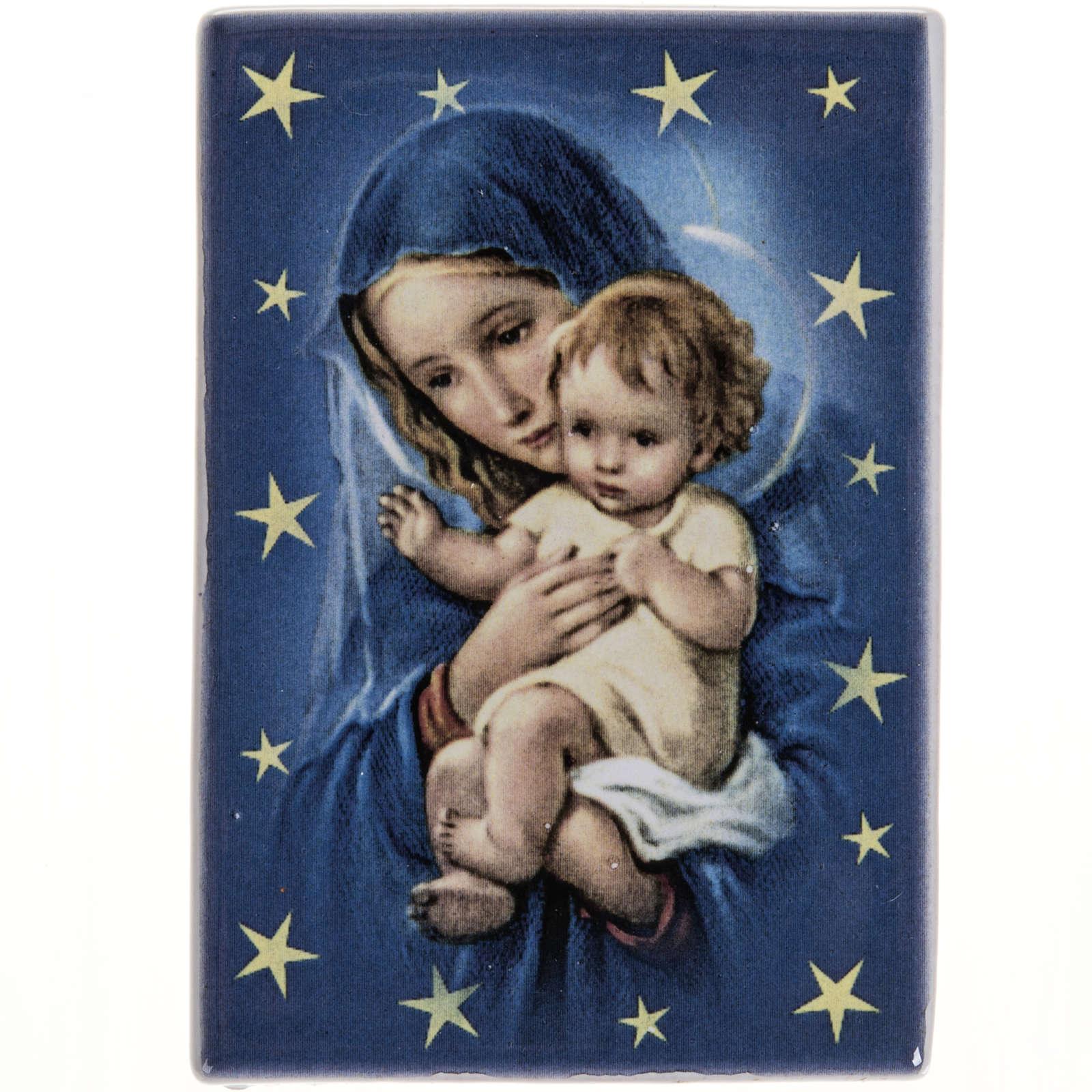 Imán rectangular terracota Virgen María con Niño Jesús 3