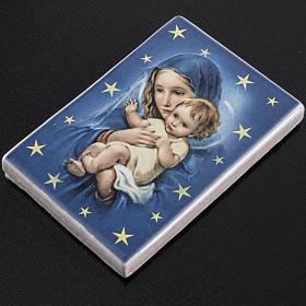 Imán rectangular terracota Virgen María con Niño Jesús s2