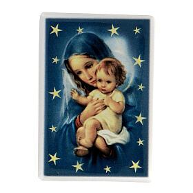 Imán rectangular terracota Virgen María con Niño Jesús s1