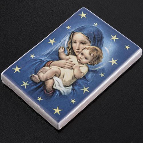 Imán rectangular terracota Virgen María con Niño Jesús 2
