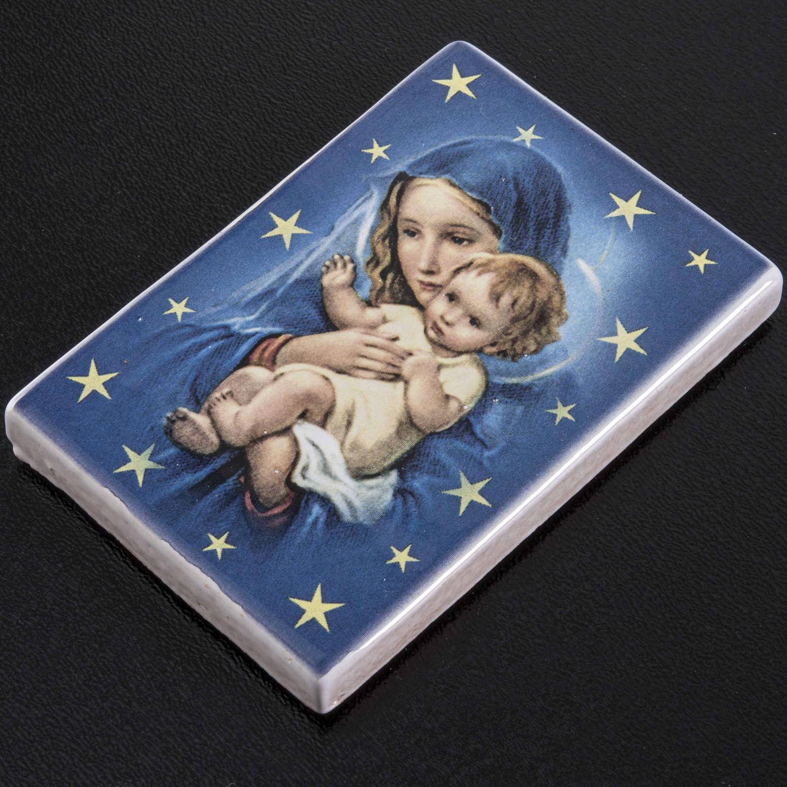 Magnete rettangolare ceramica Maria con figlio 3