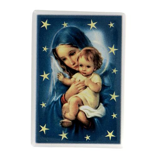 Magnete rettangolare ceramica Maria con figlio 1