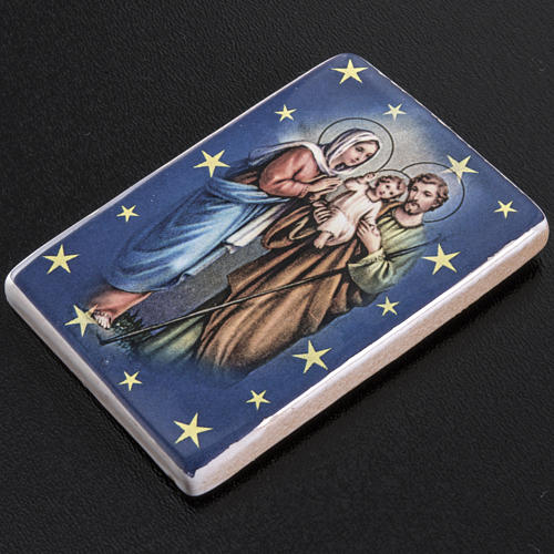 Magnet in ceramic with Holy Family standing 2