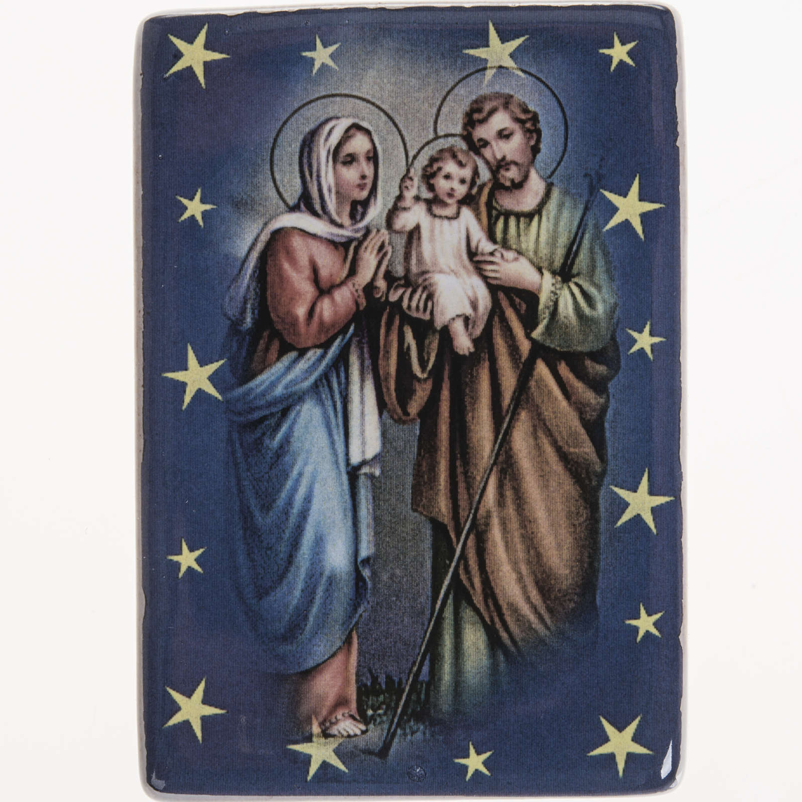 Magnet in ceramic with Holy Family standing 3