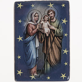 Religious Magnets: Magnet in ceramic with Holy Family standing