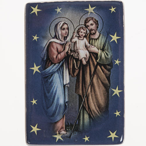 Magnet in ceramic with Holy Family standing 1