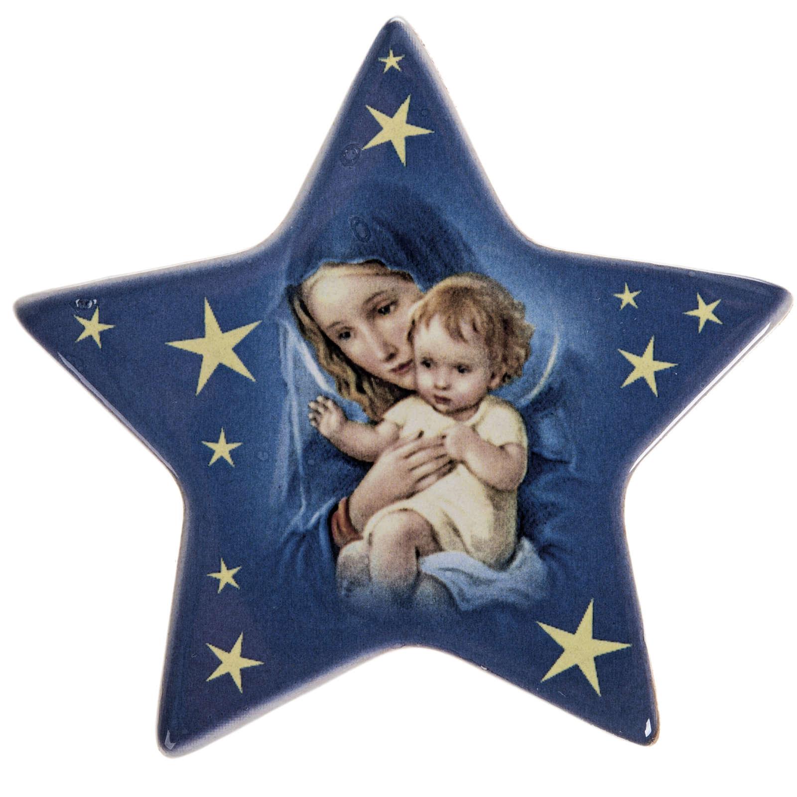 Magnet étoile Marie et enfant Jésus céramiq 3