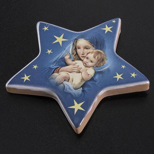 Magnete ceramica stella Maria con bambin Gesù 2