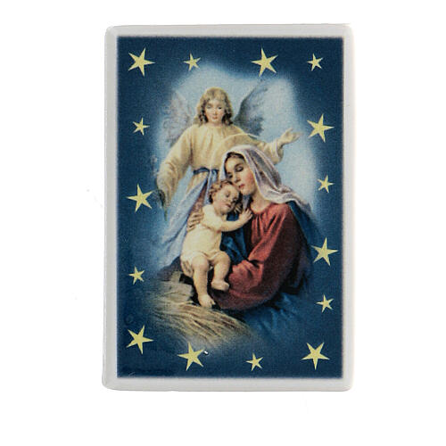 Magnet with Virgin Mary, baby Jesus and angel terracotta 1