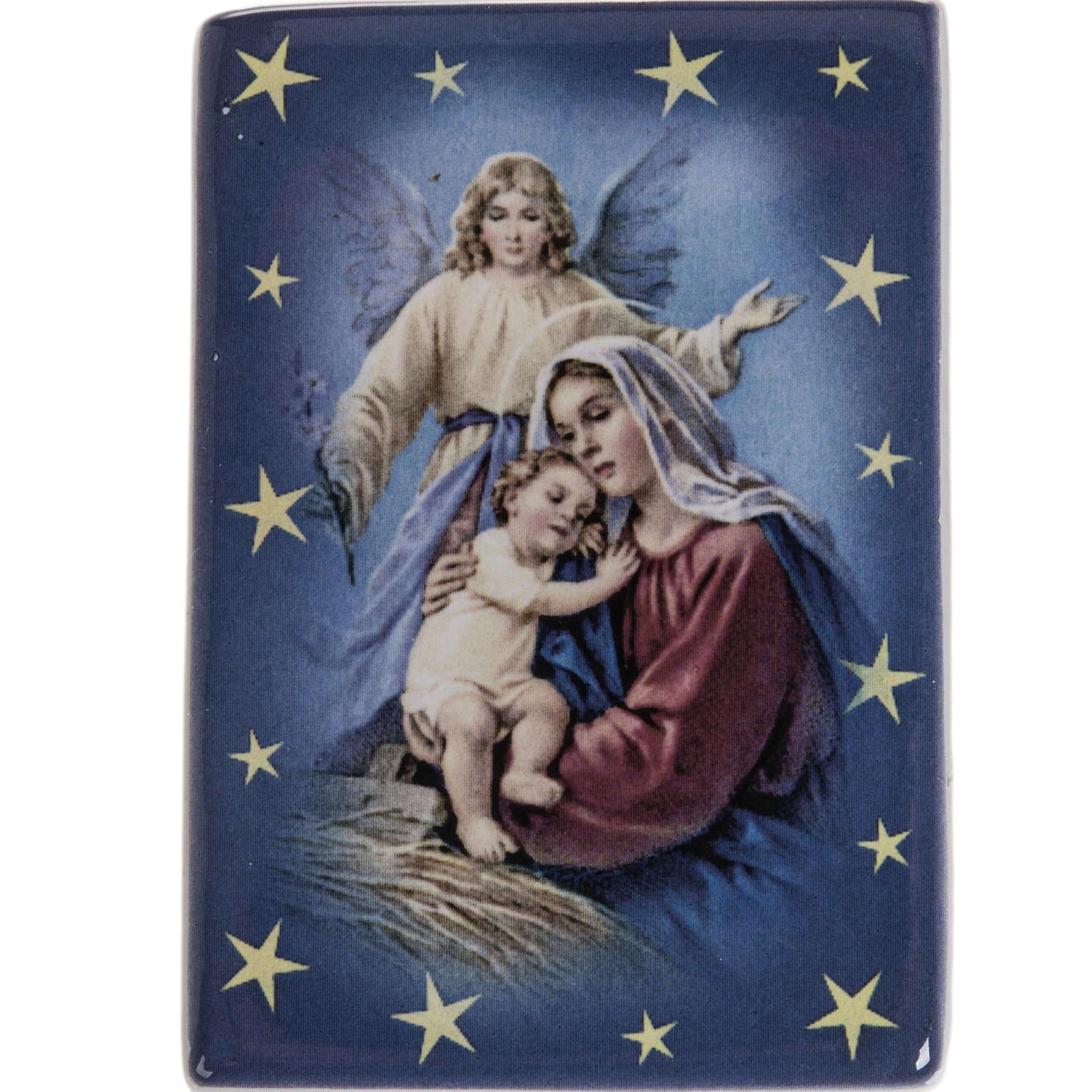 Imán cerámica María con Niño y ángel de la guarda 3
