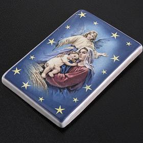 Imán cerámica María con Niño y ángel de la guarda s2