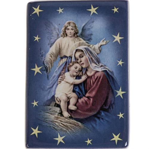 Imán cerámica María con Niño y ángel de la guarda 1